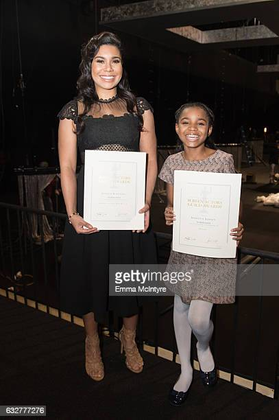 Actresses Jessica Pimentel and Saniyya Sidney attend the SAGAFTRA Auction Display and The 23rd Annual Screen Actors Guild Awards behind the scenes...