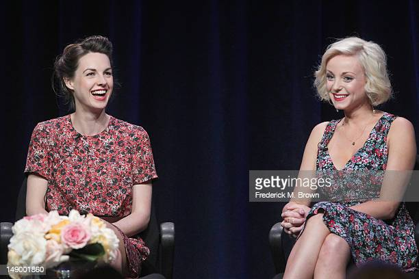 Actresses Jessica Raine and Helen George speak onstage at the 'Call the Midwife' panel during day 1 of the PBS portion of the 2012 Summer TCA Tour...
