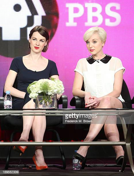 Actresses Jessica Raine and Helen George speak onstage during the 'Call The Midwife' panel discussion during the PBS Portion Day 2 of the 2013 Winter...