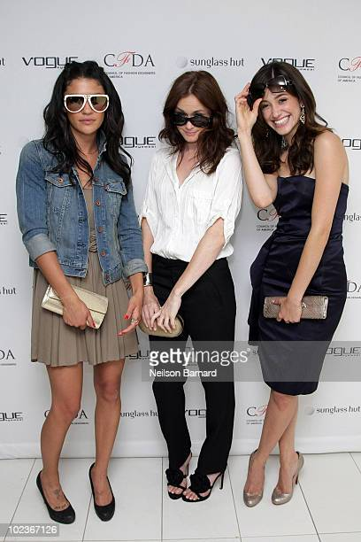 Actresses Jessica Szohr Alexis Bledel and Emmy Rossum attend the launch party for the Vogue Eyewear / CFDA Capsule Collection at Sunglass Hut...