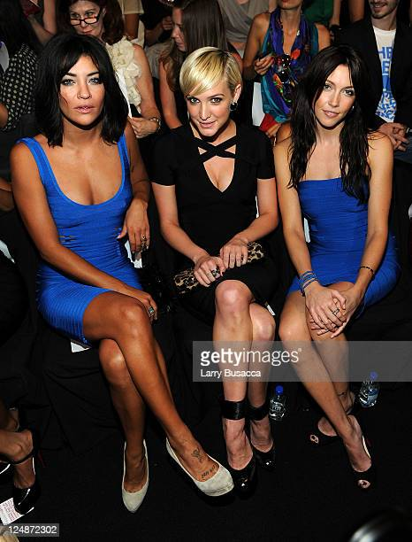 Actresses Jessica Szohr Ashlee Simpson and Katie Cassidy attend the Herve Leger by Max Azria Spring 2012 fashion show during MercedesBenz Fashion...