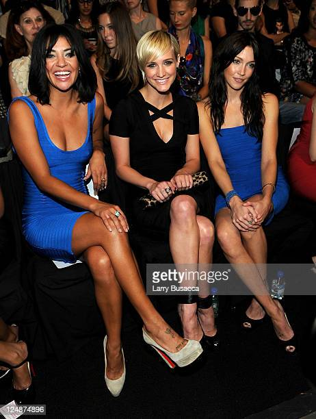 Actresses Jessica Szohr, Ashlee Simpson and Katie Cassidy attend the Herve Leger by Max Azria Spring 2012 fashion show during Mercedes-Benz Fashion...