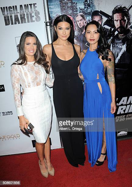 Actresses Jessica Uberuaga Jacqueline Lord and Levy Tran arrive for the Screening Of Oscar Gold Productions' Vigilante Diaries held at ArcLight...