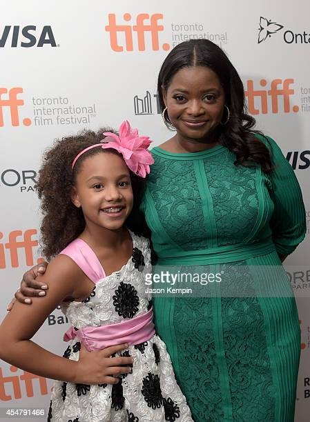 Actresses Jillian Estell and Octavia Spencer attend the Black And White premiere during the 2014 Toronto International Film Festival at Roy Thomson...
