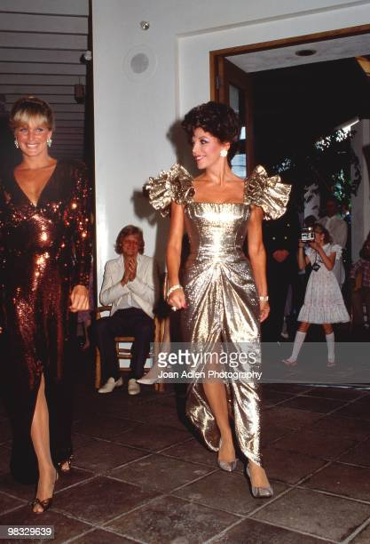 Actresses Joan Collins and Linda Evans attend a private showing of 'The Dynasty Collection' on Sept 19 1987 in Los Angeles California The showing is...