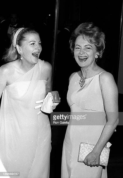Actresses Joan Fontaine and Olivia de Hollivand attends the opening party for Marlene Dietrich on October 9 1967 at the Rainbow Room at Rockefeller...
