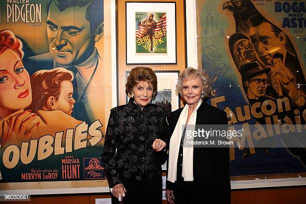 Actresses Joan Leslie and June Lockhart attend the Academy of Motion Picture Arts and Sciences' Opening Reception for their Winter Exhibit on January...