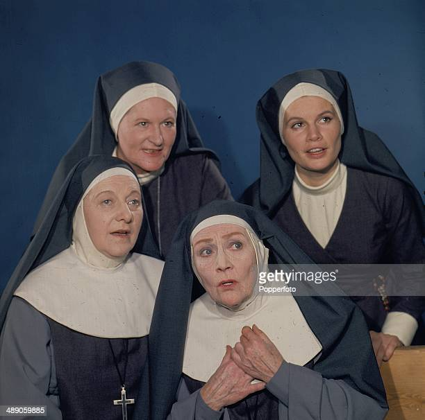 Actresses Joanna Dunham Fay Compton Peggy ThorpeBates and Alison Leggatt posed together on the set of the television drama series 'Sanctuary' in 1967