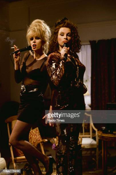 Actresses Joanna Lumley and Jennifer Saunders in a karaoke scene from episode 'ISO Tank' of the BBC television sitcom 'Absolutely Fabulous', March...