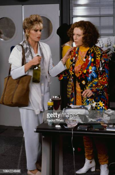 Actresses Joanna Lumley and Jennifer Saunders in a scene from episode 'Fashion' of the television sitcom 'Absolutely Fabulous', June 28th 1991.