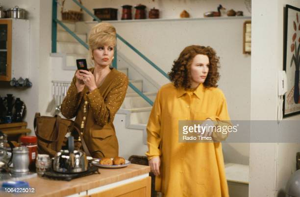 Actresses Joanna Lumley and Jennifer Saunders in a scene from episode 'Fat' of the television sitcom 'Absolutely Fabulous', February 19th 1992.