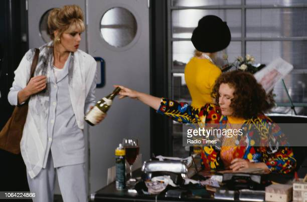 Actresses Joanna Lumley , Jane Horrocks and Jennifer Saunders in a scene from episode 'Fashion' of the television sitcom 'Absolutely Fabulous', June...
