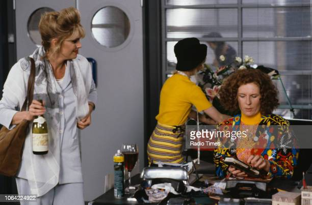Actresses Joanna Lumley Jane Horrocks and Jennifer Saunders in a scene from episode 'Fashion' of the television sitcom 'Absolutely Fabulous' June...