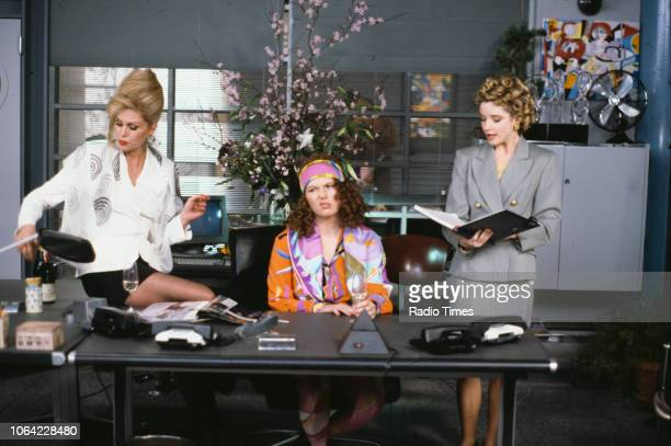Actresses Joanna Lumley, Jennifer Saunders and Jane Horrocks in an office scene from the BBC television sitcom 'Absolutely Fabulous', March 4th 1992.