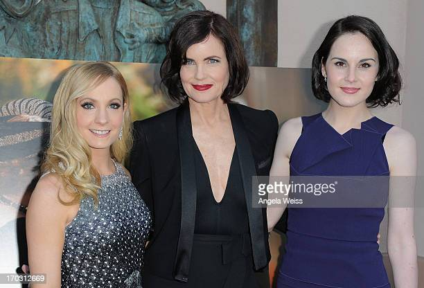 Actresses Joanne Froggatt Elizabeth McGovern and Michelle Dockery arrive at an evening with Downton Abbey at Leonard H Goldenson Theatre on June 10...
