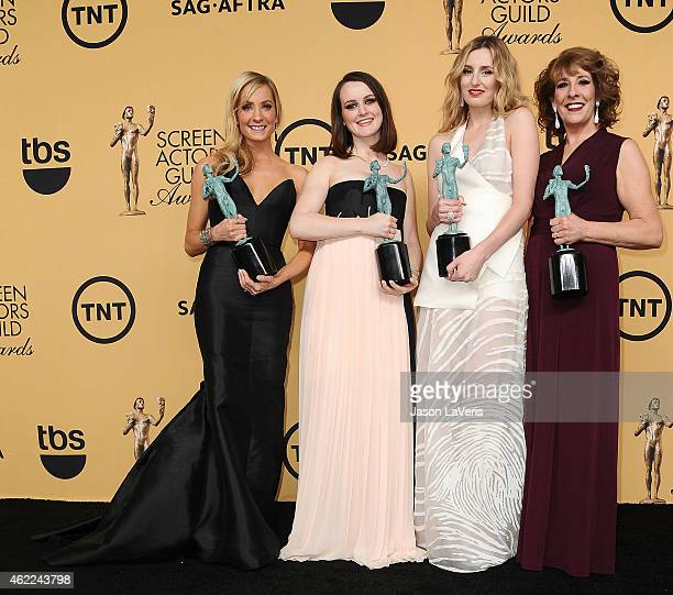 Actresses Joanne Froggatt Sophie McShera Laura Carmichael and Phyllis Logan winners of Outstanding Performance by an Ensemble in a Drama Series for...
