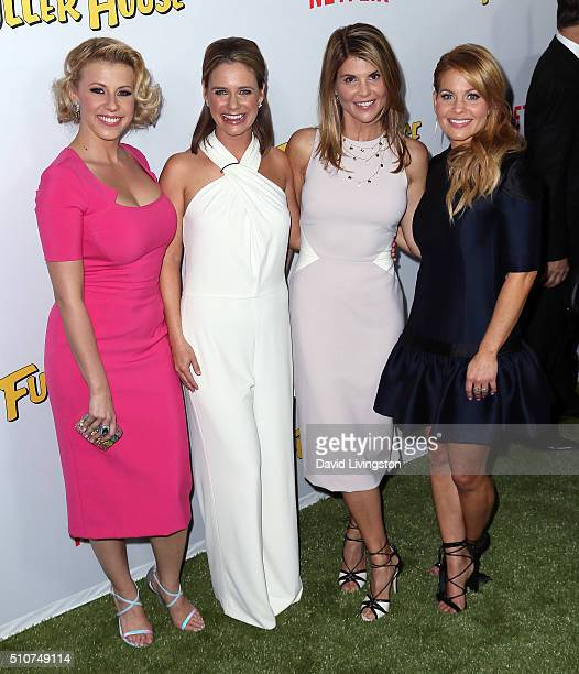 Actresses Jodie Sweetin Andrea Barber Lori Loughlin and Candace Cameron Bure attend the premiere of Netflix's 'Fuller House' at Pacific Theatres at...