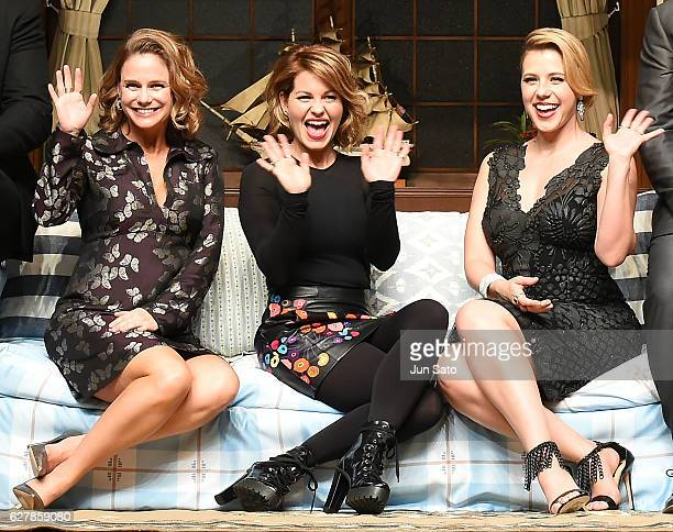 Actresses Jodie Sweetin Candace Cameron Bure Andrea Barber attend the premiere for 'Fuller House Season 2' at Roppongi Hills on December 5 2016 in...