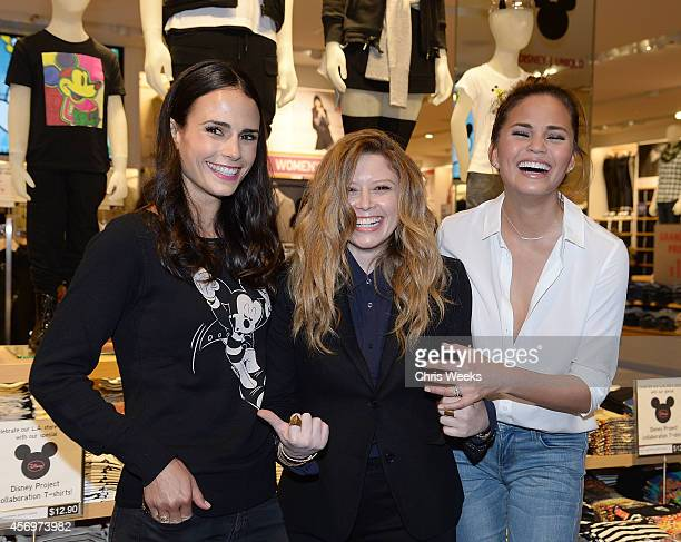 Actresses Jordana Brewster Natasha Lyonne and model Chrissy Teigen attend UNIQLO's arrival in Los Angeles at The Beverly Center on October 9 2014 in...