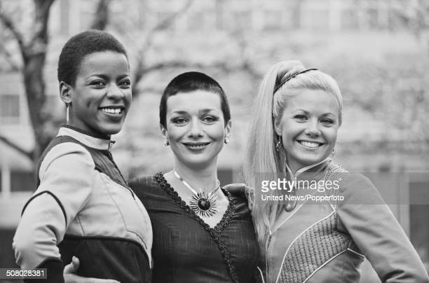 Actresses Josette Simon, Jacqueline Pearce and Glynis Barber posed together dressed in character as Dayna Mellanby, Servalan and Soolin during the...