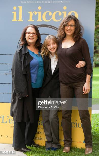 Actresses Josiane Balasko Garance Le Guillermic and director Mona Achache attend a photocall for the movie 'Le Herisson' at French Embassy on...