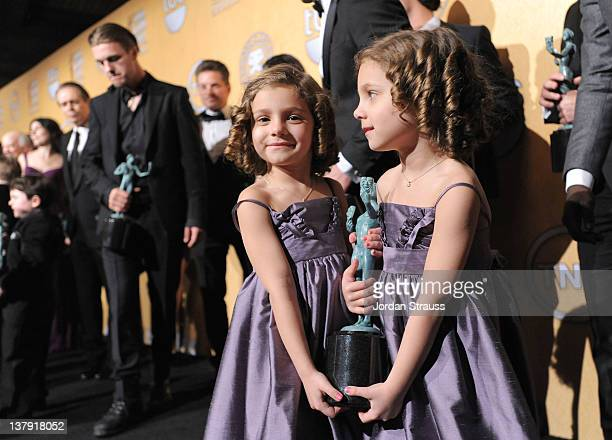 Actresses Josie Gallina and Lucy Gallina Winners Ensemble in a Drama Series Boardwalk Empire attend The 18th Annual Screen Actors Guild Awards...