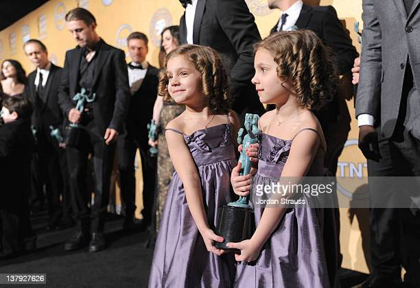 Actresses Josie Gallina and Lucy Gallina Winners for Ensemle in a Drama Series for Boardwalk Empire attend The 18th Annual Screen Actors Guild Awards...