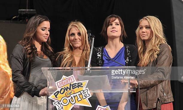 """Actresses Josie Loren, Cassie Scerbo, Chelsea Hobbs and Ayla Kell onstage during Variety's 3rd annual """"Power of Youth"""" event held at Paramount..."""