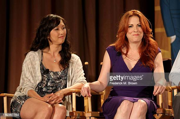 Actresses Joy Osmanski and Cristina Pucelli speak onstage at Allen Gregory panel during the FOX portion of the 2011 Summer TCA Tour at the Beverly...