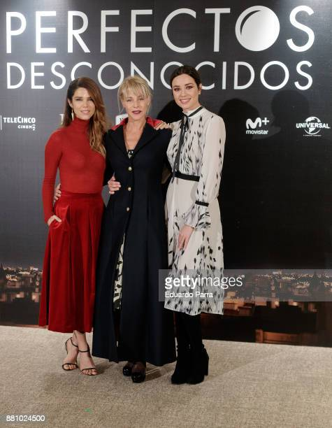 Actresses Juana Acosta Belen Rueda and Dafne Fernandez attend 'Perfectos Desconocidos' photocall at the Hesperia Hotel on November 28 2017 in Madrid...