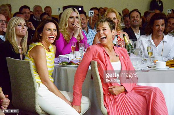 Actresses Judith Light Amy Landecker and Melora Hardin attend 2015 Beth Chayim Chadashim Annual Awards Brunch honoring Jeffrey Tambor for his work on...