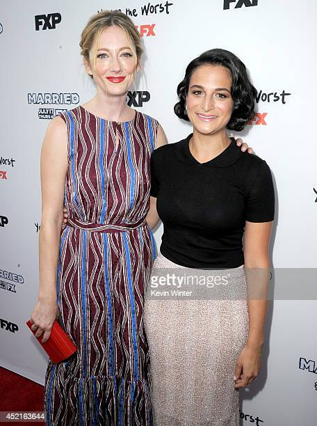 Actresses Judy Greer and Jenny Slate attend the premiere screening's for FX's You're The Worst and Married at Paramount Pictures Studio on July 14...