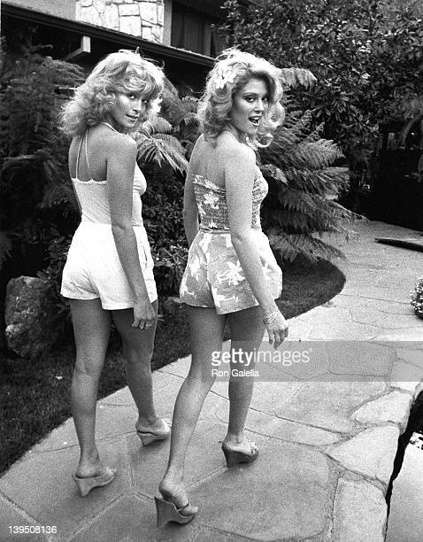Actresses Judy Landers and Audrey Landers attend Exclusive Photo Session with The Landers Sisters on April 21 1982 at their home in Beverly Hills...
