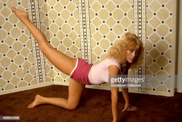 Actresses Judy Landers workout at home in circa 1986 in Los Angeles California