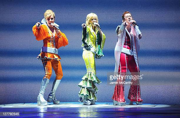 Actresses Judy McLaneLisa Brescia and Jennifer Perry perform on stage in the 4000th Broadway performance of Mamma Mia at the Winter Garden Theatre on...
