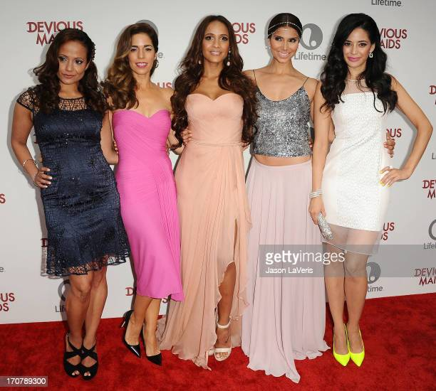 Actresses Judy Reyes Ana Ortiz Dania Ramirez Roselyn Sanchez and Edy Ganem attend the premiere of 'Devious Maids' at BelAir Bay Club on June 17 2013...