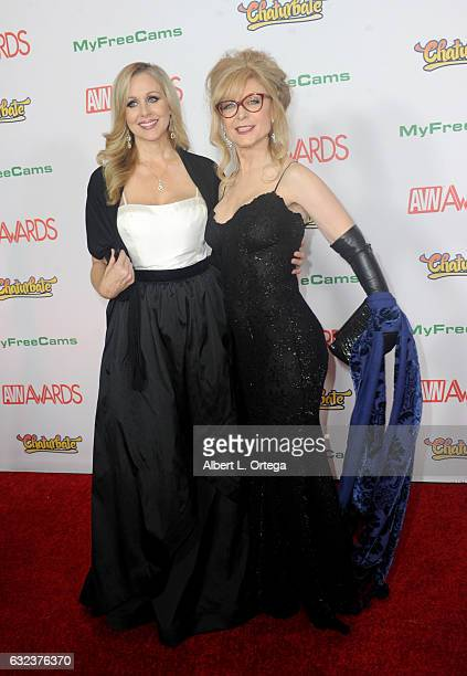 Actresses Julia Ann and Nina Hartley arrive at the 2017 Adult Video News Awards held at the Hard Rock Hotel Casino on January 21 2017 in Las Vegas...