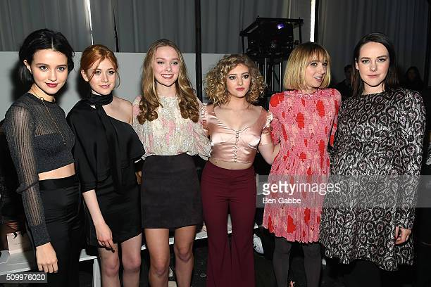 Actresses Julia Goldani Telles Katherine McNamara Bridget McGarry Willow Shields Zoe Kazan and Jena Malone attend the Jill Stuart fashion show during...