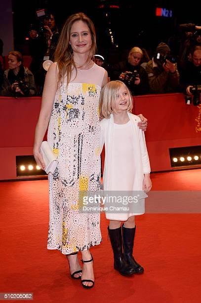 Actresses Julia Jentsch and Emilia Pieske attend the '24 Wochen' premiere during the 66th Berlinale International Film Festival Berlin at Berlinale...