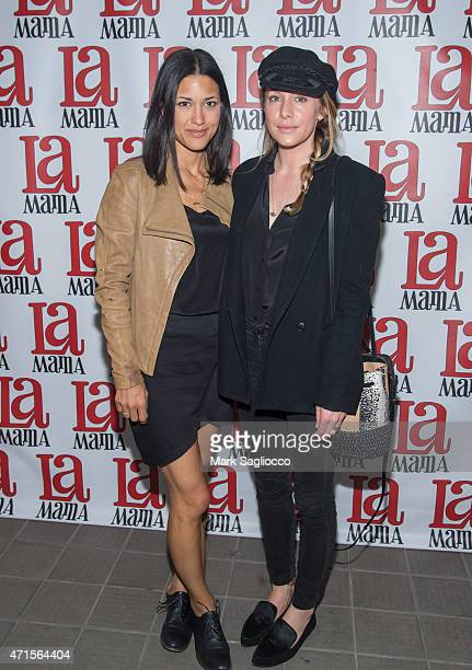 Actresses Julia Jones and Casey LaBow attend the 'Trash Cuisine' Off Broadway Opening Night at La MaMa Theater on April 29 2015 in New York City