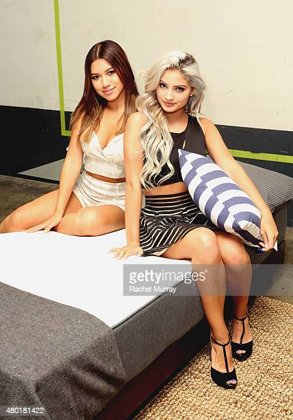 Actresses Julia Kelly and Carrington Durham check out the Casper mattresses during Casper's LA celebration at Blind Dragon on July 9 2015 in West...