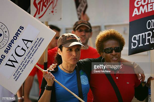 Actresses Julia LouisDreyfus and Wanda Sykes join Hollywood writers as they picket outside the set of 'Desperate Housewives' on the second day of the...