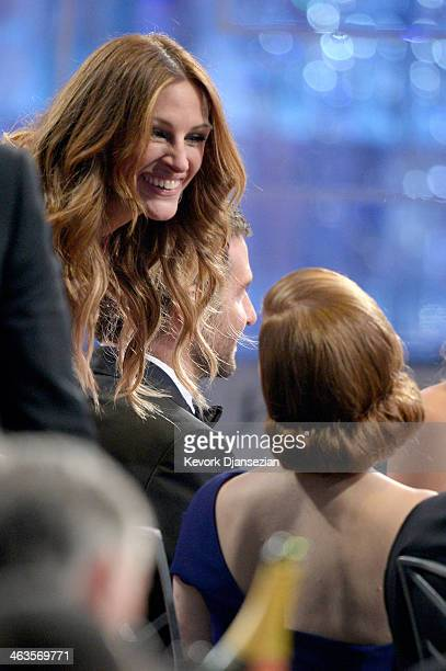 Actresses Julia Roberts and Amy Adams in the audience during the 20th Annual Screen Actors Guild Awards at The Shrine Auditorium on January 18 2014...