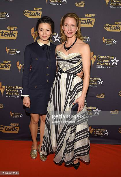 Actresses Julia Taylor Ross and Michelle Nolden attend the Canadian Screen Awards at Westin Harbour Castle Hotel on March 9 2016 in Toronto Canada