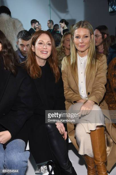 Actresses Julianne Moore and Gwyneth Paltrow attend the Calvin Klein Collection Front Row during New York Fashion Week on February 10 2017 in New...