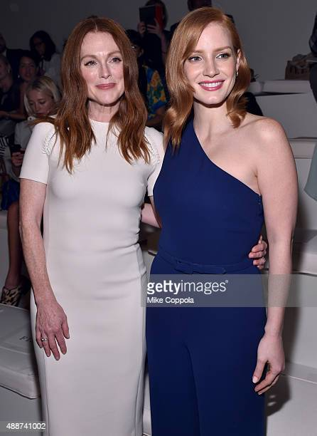Actresses Julianne Moore and Jessica Chastain attend Ralph Lauren Spring 2016 during New York Fashion Week The Shows at Skylight Clarkson Sq on...