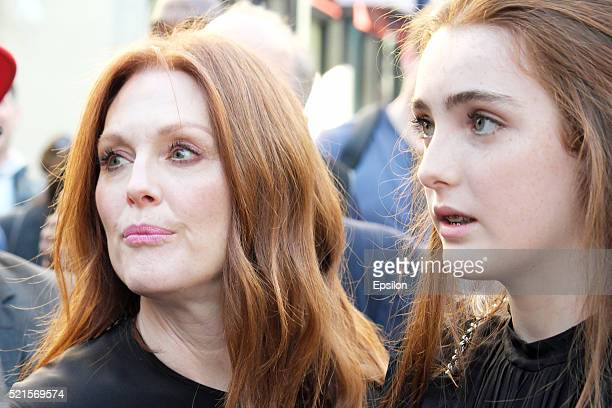 Actresses Julianne Moore and Liv Freundlich attend the 'Wolves' premiere during 2016 Tribeca Film Festival at SVA Theatre on April 15 2016 in New...