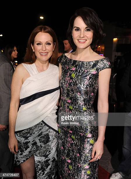 Actresses Julianne Moore and Michelle Dockery attend the premiere of Universal Pictures and Studiocanal's NonStop at Regency Village Theatre on...