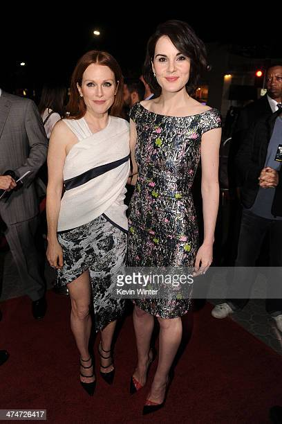 """Actresses Julianne Moore and Michelle Dockery attend the premiere of Universal Pictures and Studiocanal's """"Non-Stop"""" at Regency Village Theatre on..."""