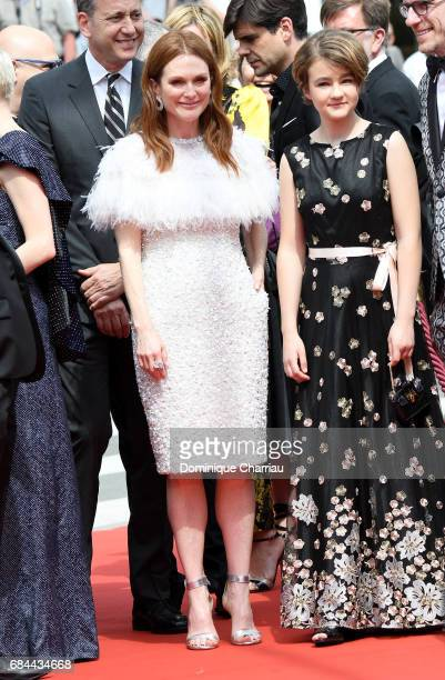 Actresses Julianne Moore and Millicent Simmonds attend the Wonderstruck screening during the 70th annual Cannes Film Festival at Palais des Festivals...